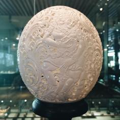 Carved Ostrich Egg Craftsman from Ubud.